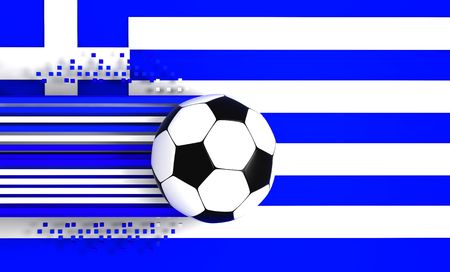 socca: soccer ball on background of the flag greece