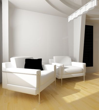 modern white drawing room 3d image Stock Photo - 2859182