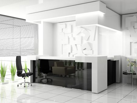 Reception in modern hotel aSed 3d image