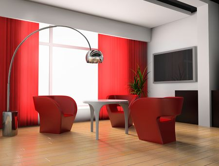 modern  red room 3 d exclusive design Stock Photo - 3270852
