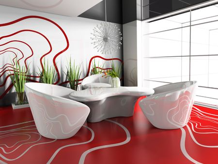 dining table in modern cafe 3d image
