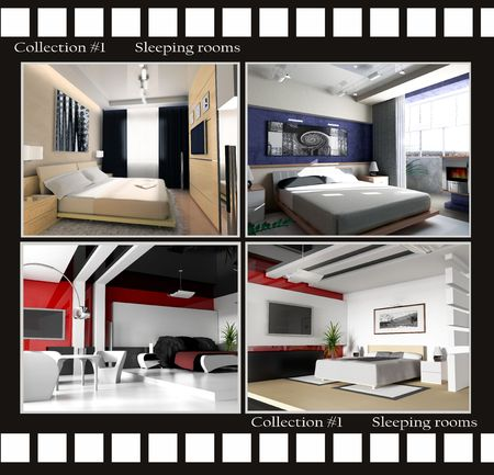 Collection images of sleeping rooms 3d render Stock Photo - 3422548