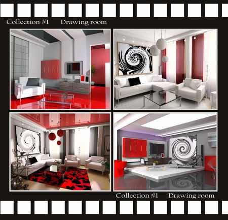 Collection images of Drawing rooms 3d render Stock Photo - 3422549