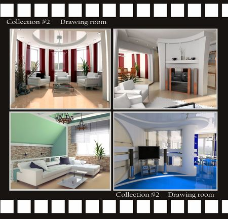 Collection images of Drawing rooms 3d render Stock Photo - 3422547