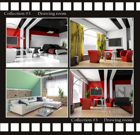 Collection images of Drawing rooms 3d render Stock Photo - 3422544