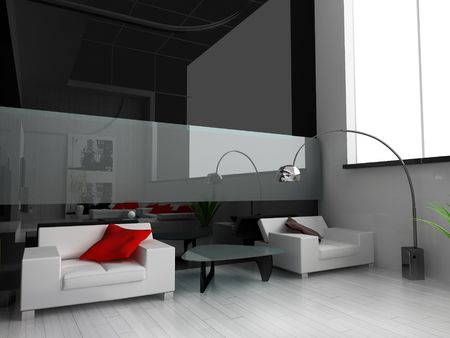 hotel balcony: Modern interior of a drawing room 3d image