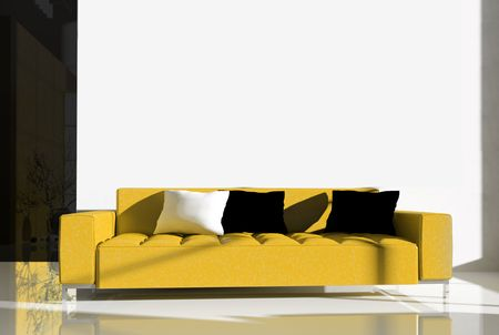 Furniture in a modern interior 3d image Stock Photo - 3530783