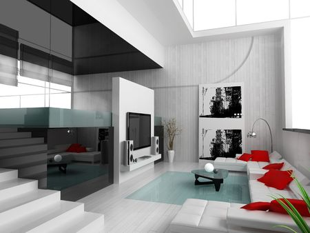 Interior of a modern white drawing tv room Stock Photo