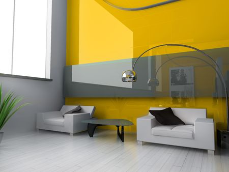 Modern interior of a drawing room 3d image Stock Photo - 3530784
