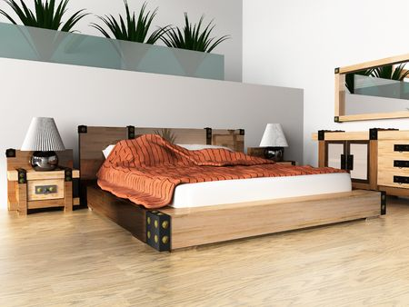 Modern white sleeping room 3d image Stock Photo - 3703479