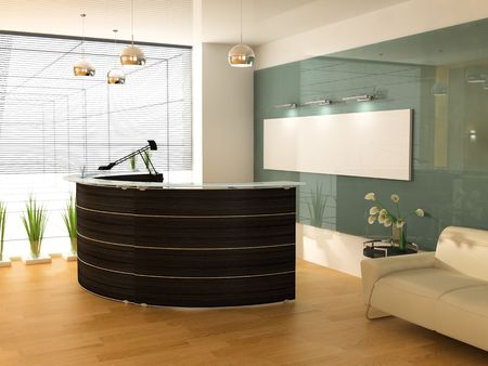 muebles de oficina: Recepci�n en la oficina moderna Foto de archivo