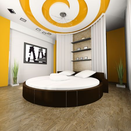 Sleeping room with a round bed 3d image Stock Photo - 3703482