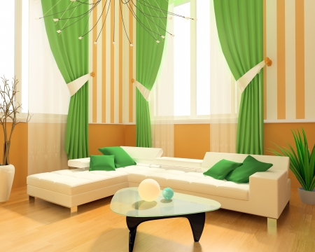 drapes: Modern interior of a room 3d image