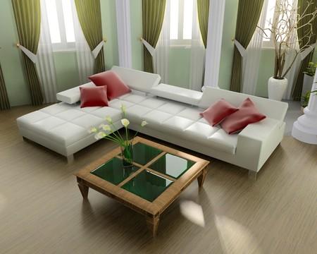curtain design: Interno di una moderna camera 3d immagine