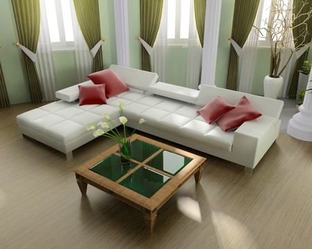 window curtains: Modern interior of a room 3d image