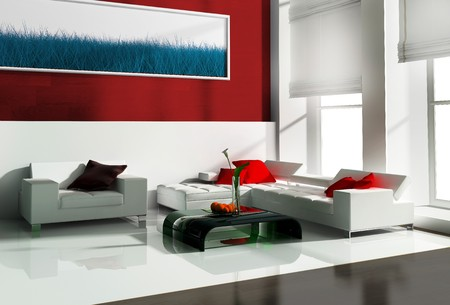 Furniture in a modern interior 3d image Stock Photo - 4226835