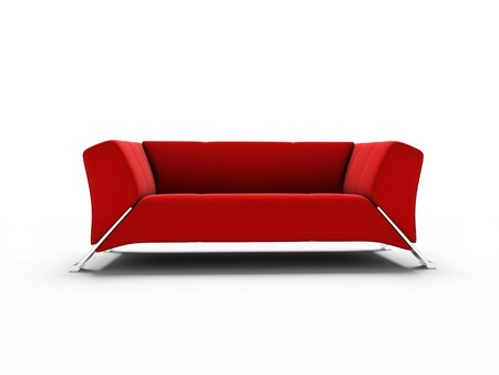 Red modern furniture on a white background 3d image photo
