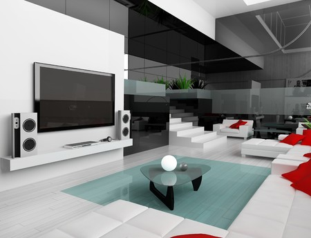 Interior of a modern white drawing tv room Stock Photo - 4466357