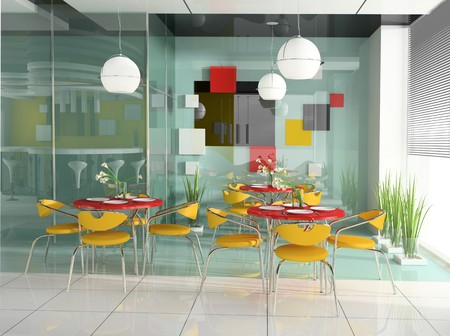 cafeteria: dining table in modern cafe 3d image
