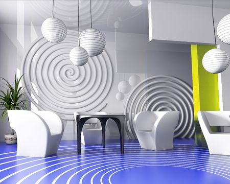 verde: Modern interior of cafe in VERDE 3d image Stock Photo