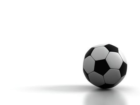 socca: Football on a white background 3d image Stock Photo