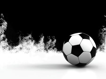 socca: Football on a black and white background 3d image Stock Photo