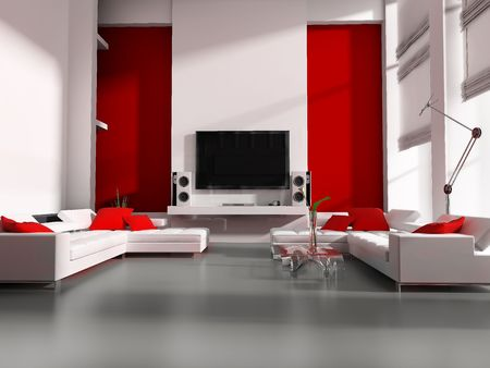 Modern interior white drawing tv room  Stock Photo