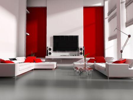 haus beleuchtung: Modernes Interieur wei� Zeichnung Fernsehzimmer