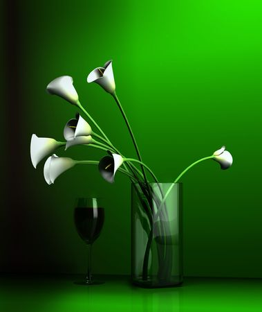 Still-life with colours and glass on a green background Stock Photo