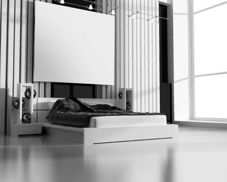 Modern white sleeping room 3d image Stock Photo - 5649078