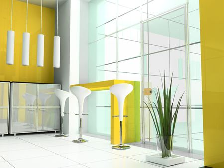 reception room: Bar in a hall of office 3d image