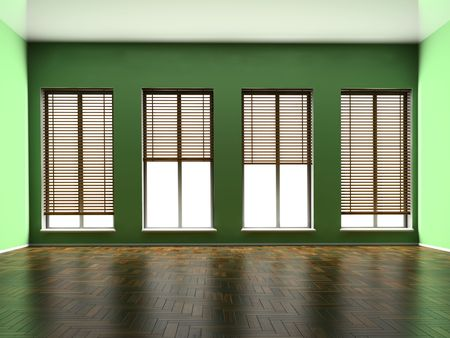 Empty room with windows and a parquet floor Stock Photo - 5824037