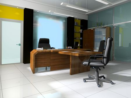 Workplace at modern office 3 d image photo