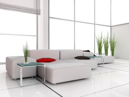 modern white drawing room 3d image Stock Photo - 5998490