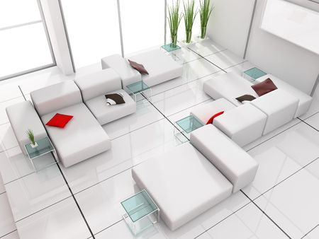 modern white drawing room 3d image Stock Photo - 5998493
