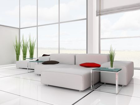modern white drawing room 3d image Stock Photo - 6037727