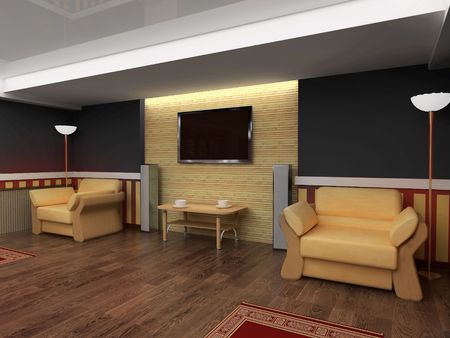 Exclusive interior red drawing room 3d image photo