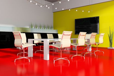 Modern interior room for meetings 3d render photo