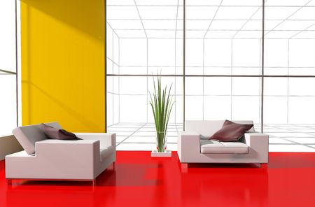 modern interior place for rest 3d image Stock Photo - 6217602