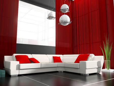 modern drawing room 3d image Stock Photo - 6417635