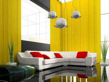 modern drawing room 3d image Stock Photo - 6417636