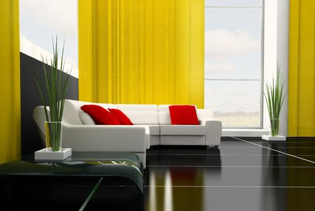 modern white drawing room 3d image Stock Photo - 6488013