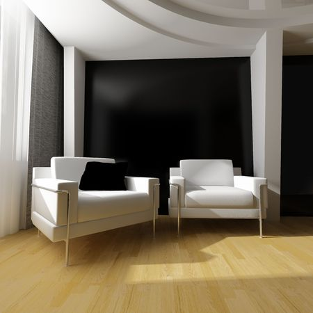 surrounding wall: modern white drawing room 3d image