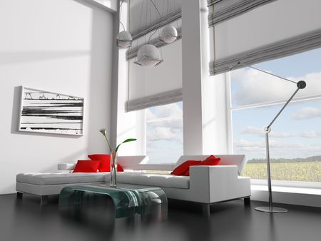 modern white drawing room 3d image Stock Photo - 6658106