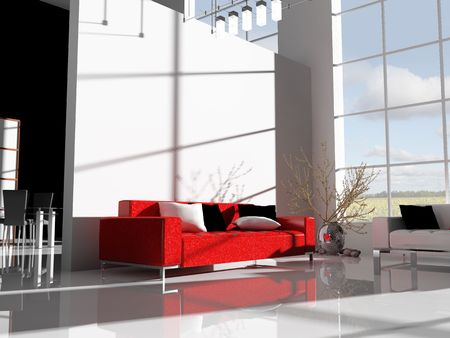 modern white drawing room 3d image Stock Photo - 6658113