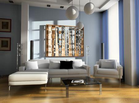 排他的なデザインの応接室のモダンなデザインのインテリア 写真素材