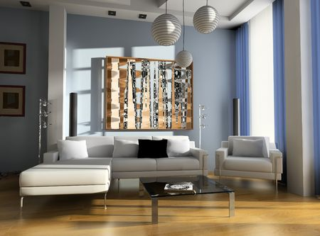 Modern design  interior of a drawing room, exclusive design Stock Photo