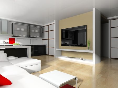 modern white drawing room 3d image Stock Photo - 6658133