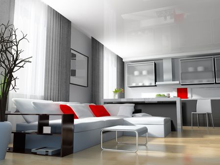 beautiful living: modern white drawing room 3d image