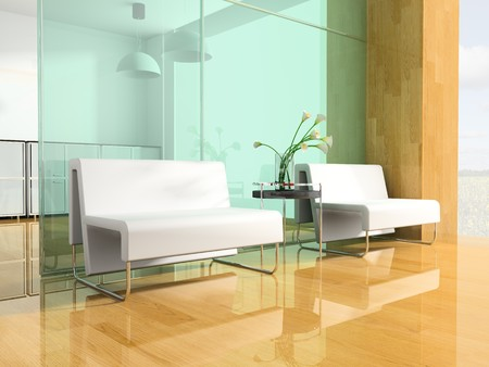 rest room: White sofa in a rest room 3d image Stock Photo